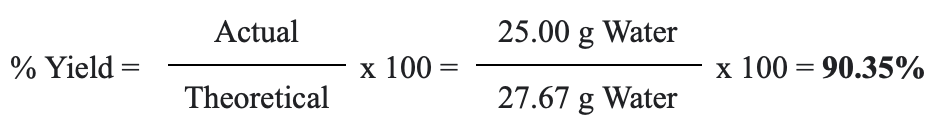 percent yield equation example