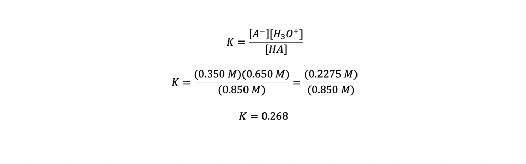 equations solving for the value of K.