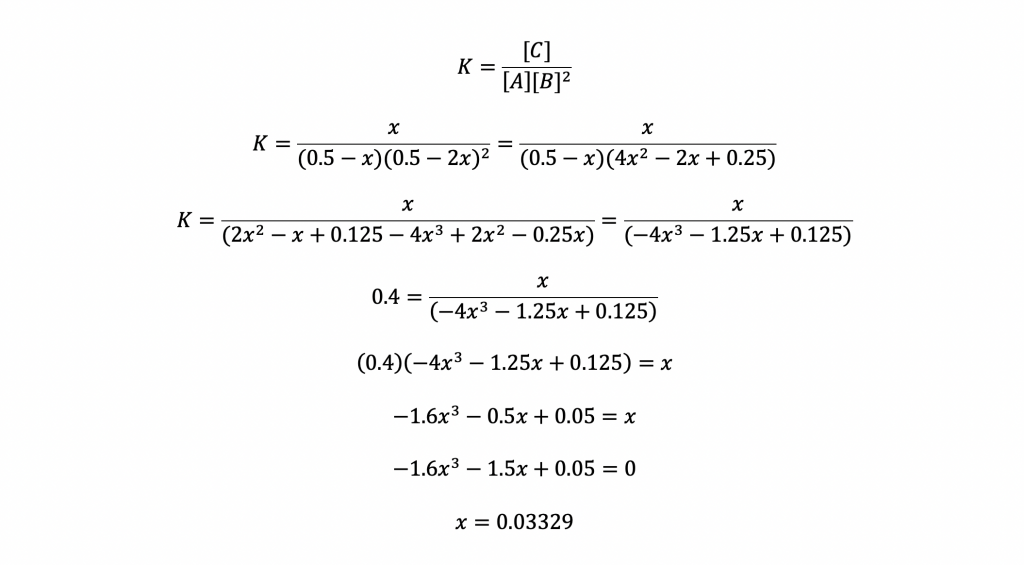 equations solving for the value of x in the ice table.